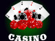 Casino icons with glossy red dices, gambling chips and winning combination of poker aces on the background. For gambling industry theme design